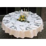 מפת שולחן בצבע לבן / צבעוני